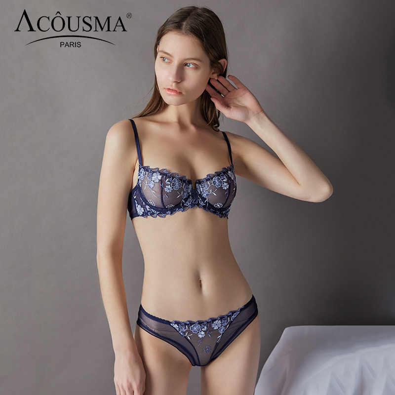 5a306fbc46 ACOUSMA Women Bra Lace Embroidery Brief Panty Sets Ultrathin Sexy Underwear  Transparent Panties Lingerie Brassiere See