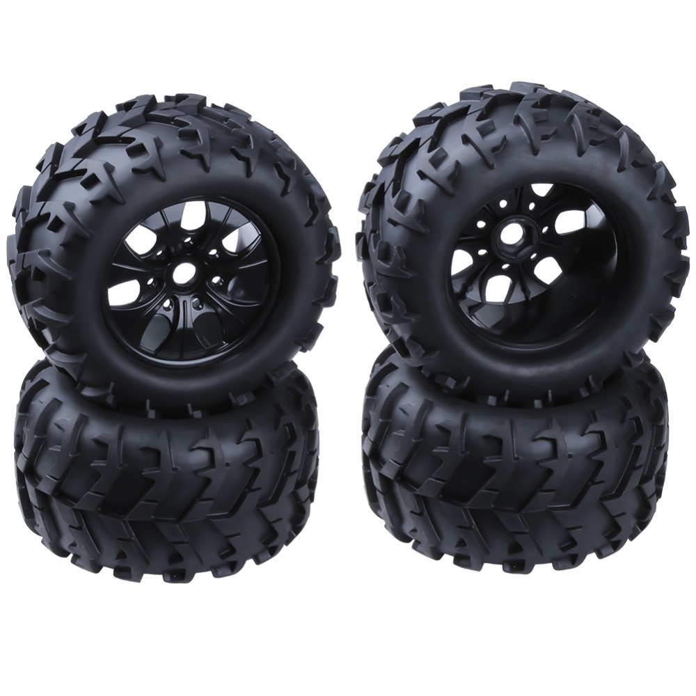 4Pcs 3.2 Rubber RC 1/8 Monster Truck Wheels & Tires 150mm For 17mm Hex Hub Mount For Traxxas HSP HPI Baja Tyre 1 8 big foot tire hsp big tire diameter 150mm rc car 1 8 17mm wheel rims hex hub 4pcs