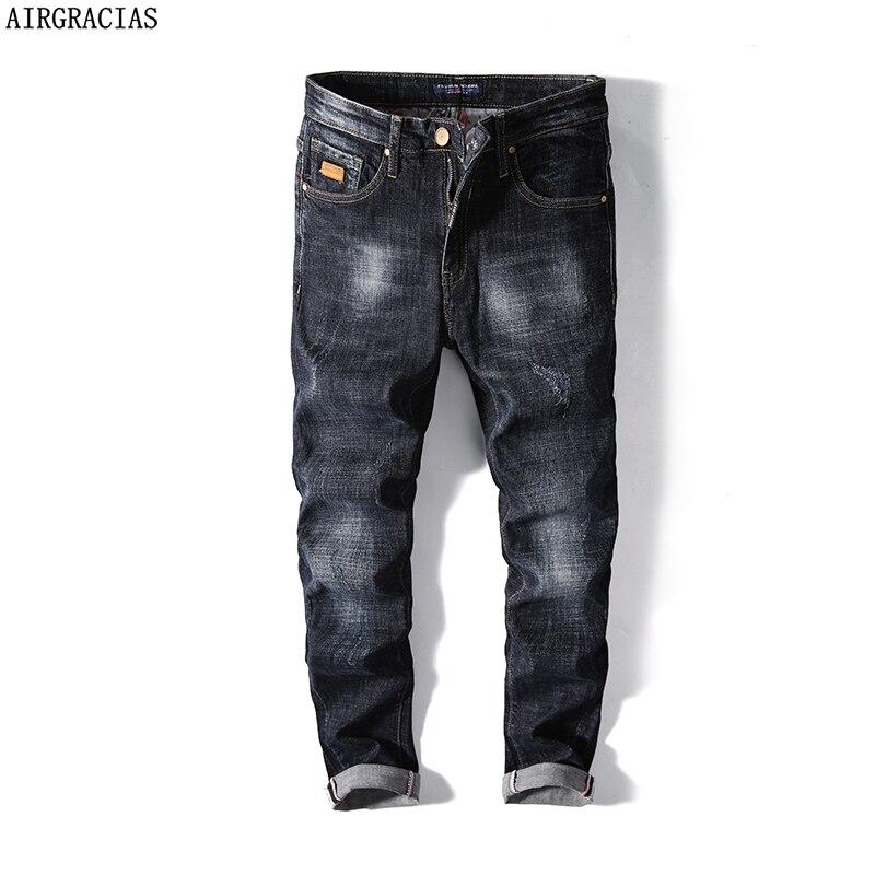 AIRGRACIAS Brand   Jeans   Retro Nostalgia Straight Black Denim   Jeans   Men Plus Size 28-40 Men Long Pants Trousers Classic Biker   Jean