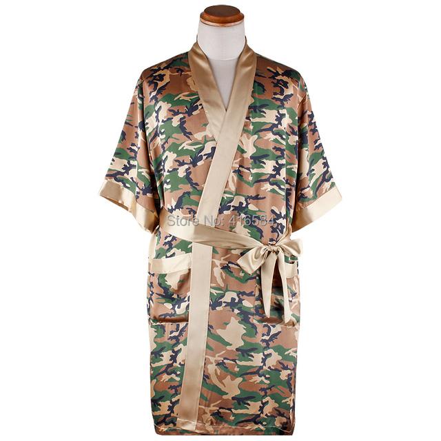 Robe De Cetim Verão Quimono Roupões de Banho dos homens Do Exército Camo Impressão Vestir Vestido de Pijamas de Seda para Homens Sleepwear