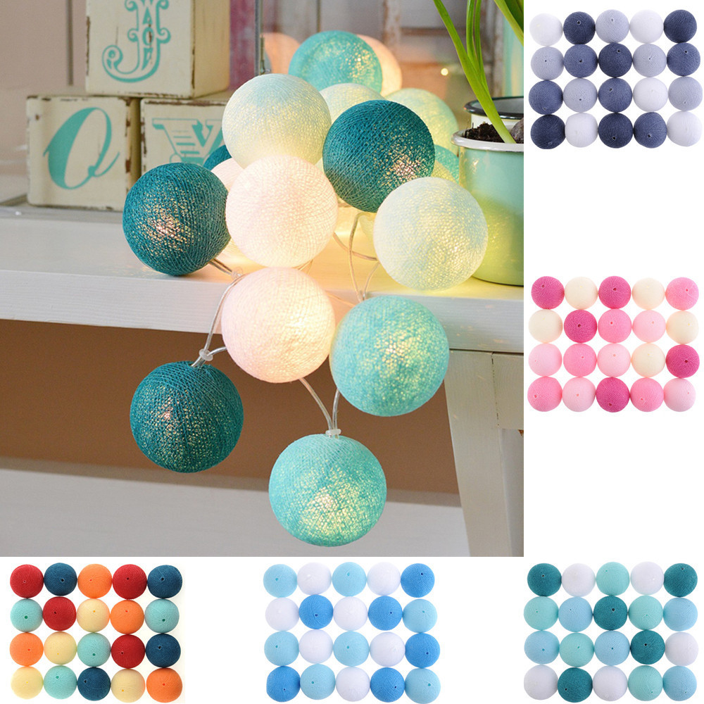 Cotton Ball Light String 20LED 2.8m Decorative Lights For Home Decoration Halloween Christmas Corridors Hallways Wedding Party 10m 100 led 110v 8 mode fancy ball lights decorative christmas party festival twinkle string lamp strip rgb us plug