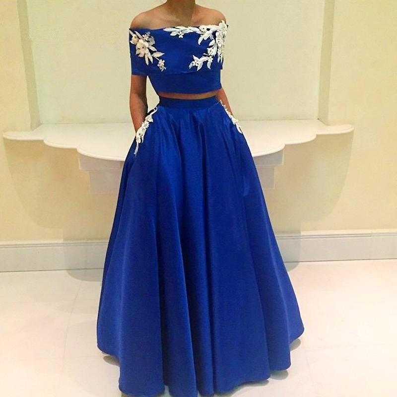 Royal Blue Muslim   Evening     Dresses   2019 A-line Two Pieces Flowers Elegant Islamic Dubai Kaftan Saudi Arabic Long   Evening   Gown