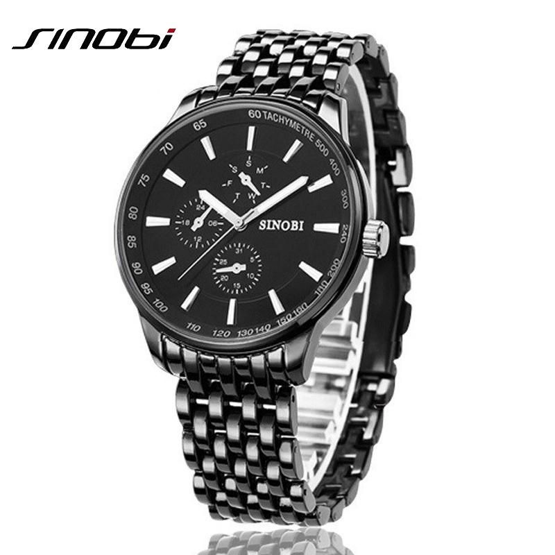 Prix pour Mode Noir En Acier Plein Hommes Casual Quartz Montre Hommes JAPON Horloge Mâle Montre-Bracelet Militaire Cadeau relojes hombre SINOBI Marque