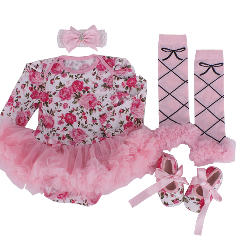 2017 Autumn Christmas clothes floral newborn baby romper with tutu dress 4pcs/set Bebe vestidos First Birthday Party Girl Dress 4pcs set baby girls clothing newborn baby clothes christmas infant jumpsuit clothes xmas bebe suits toddler romper tutu dresses