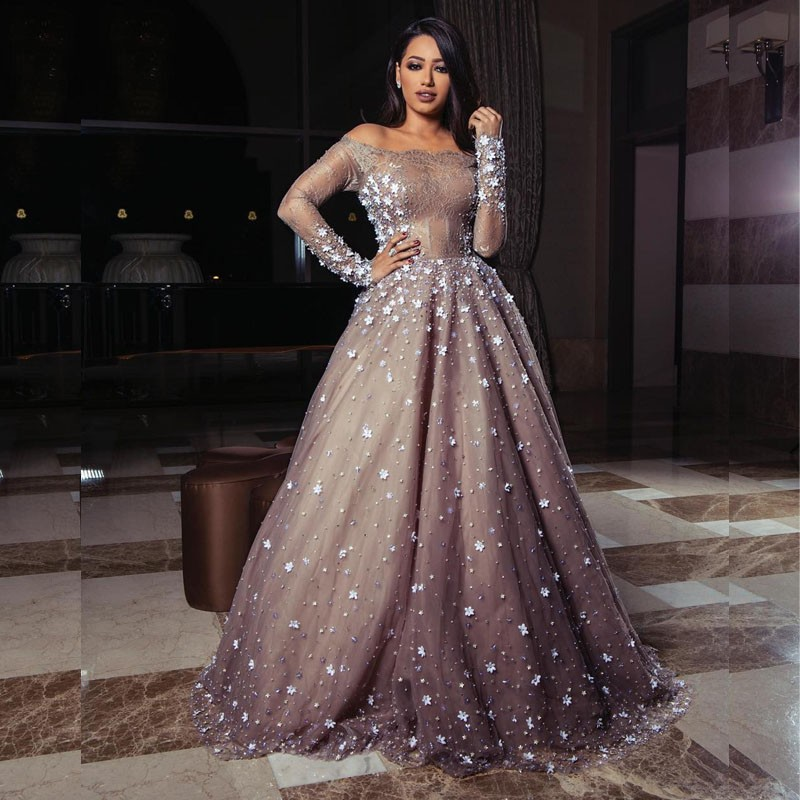 Robe Soiree Dubai Muslim Arabic Lace Evening Gown Boat Neck Long Sleeve Flowers Pearls Floor Length Wedding Party Dress