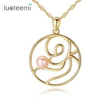 LUOTEEMI 925 Sterling Sliver Brand Fashion Hoop Rose Shape Pendant Necklace With Fancy Natural Pearl For Women Jewelry Gift(China)