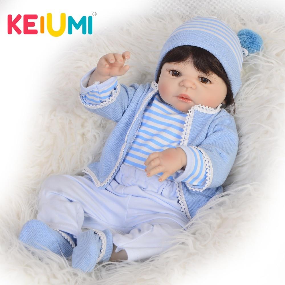 KEIUMI Full Silicone Vinyl Reborn Menino 57 cm Baby Toy Lifelike Reborn Baby Dolls 23 Newborn