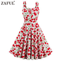 ZAFUL 4XL Women Dress Summer Sleeveless Casual Retro Vintage 1950s 60s Cherry Big Swing Mini Floral