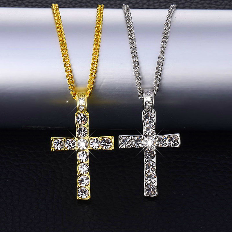 Hip Hop Iced Out Gold Color Cross Pendant Necklace Men Religious AAA Crystal Zircon Crucfix Men's Necklace Chain Rapper Jewelry
