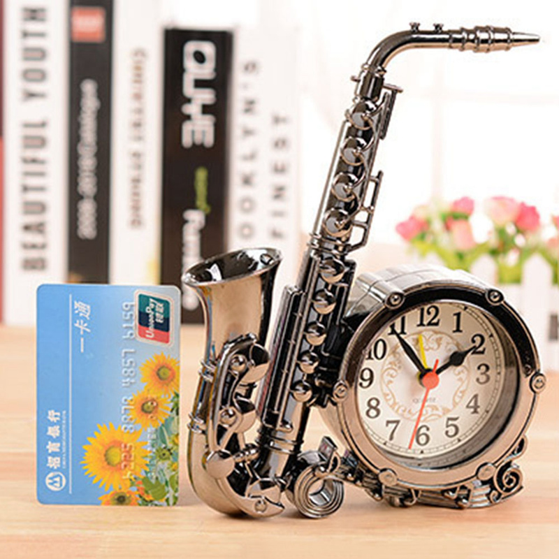 Home Decor Creative Saxophone Modeling Alarm Clock Vintage Digital Clock Number Kid Student Desk Table Alarm Clock Gifts pocket watch