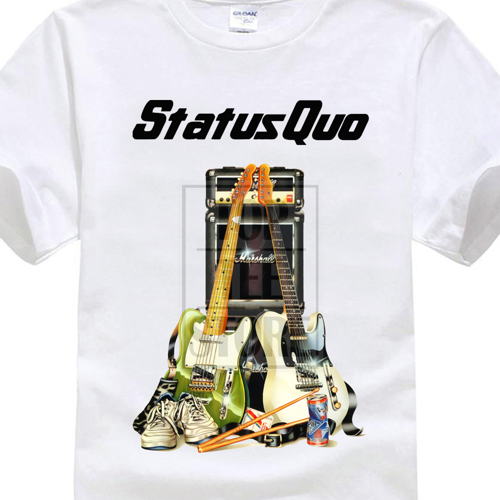 Status Quo Rock Band Instruments White Men   T     Shirt