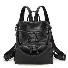 Женщины рюкзак черный кожа pu Сумка студент школьный девушки книга случайные сумки простой рюкзак