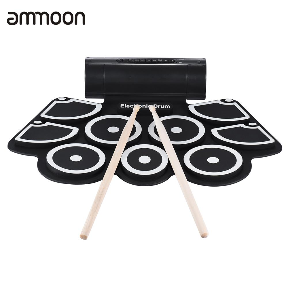 Portable Electronics Roll Up Drum Pad Set 9 Silicon Pads Built in Speakers with Drumsticks Foot