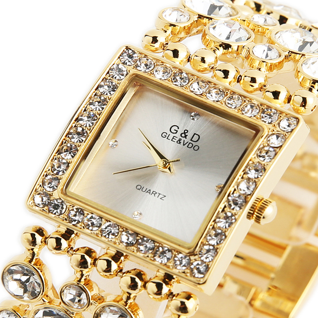 G&D Luxury Brand 2018 Women's Bracelet Watches Diamond Gold Ladies Dress Watch Q