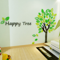 Happy tree 3d Acrylic Wall stickers For kids room Children's room DIY decoration Bedroom cartoon Art wall decorate