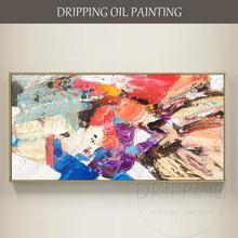 Fashion Colors Hand-painted Palette Knife Abstract Oil Painting Colorful for Living Room