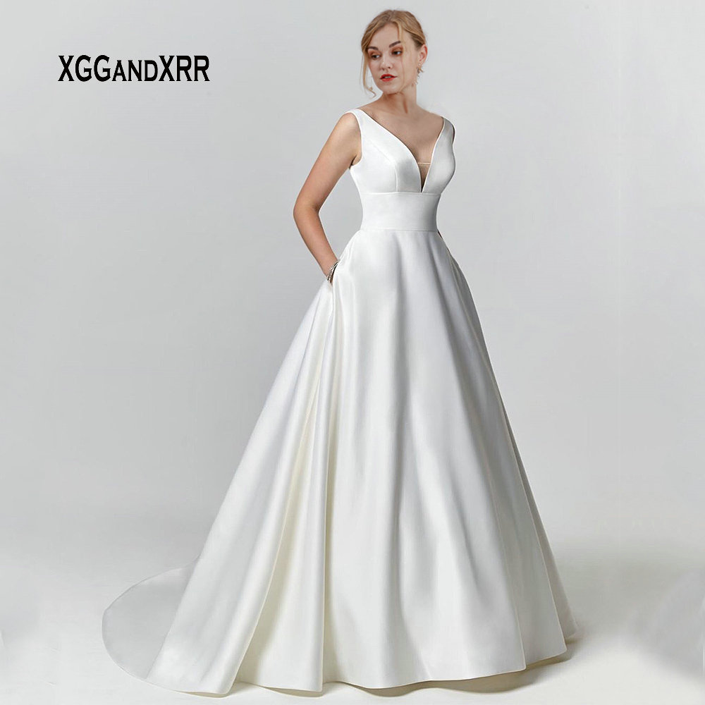 New Arrival Sexy Satin Wedding Dress 2019 Bridal Gown V Neck Backless Court Train Button Gelinlik Plus Size White Bride Dress