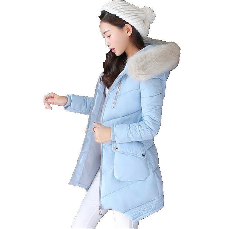 Big yards Winter Coat Thick Warm Fur collar Hooded Cotton Jacket New Style Slim Women Jacket