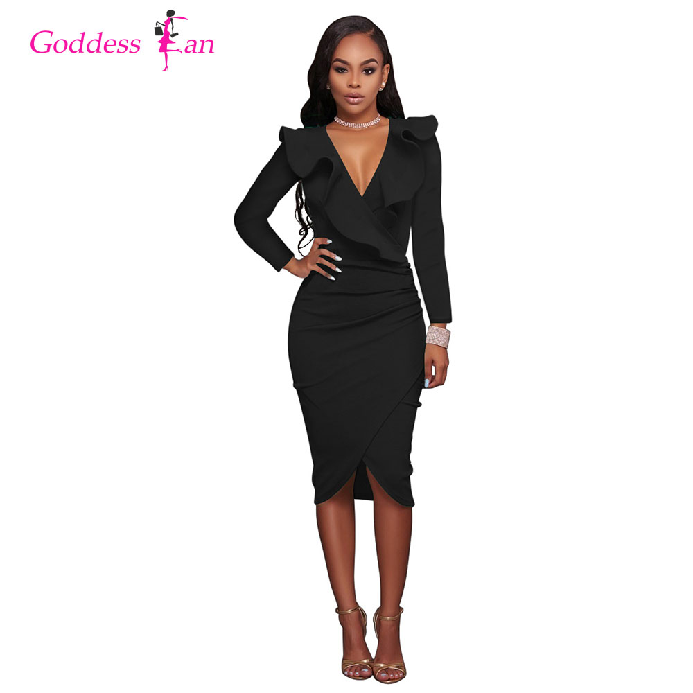 Winter Autunm Long-Sleeved Sexy Women's Dresses Solid Color V-neck Mid Calf Black/White/Wine Red/ Green/Blue/Yellow Dress
