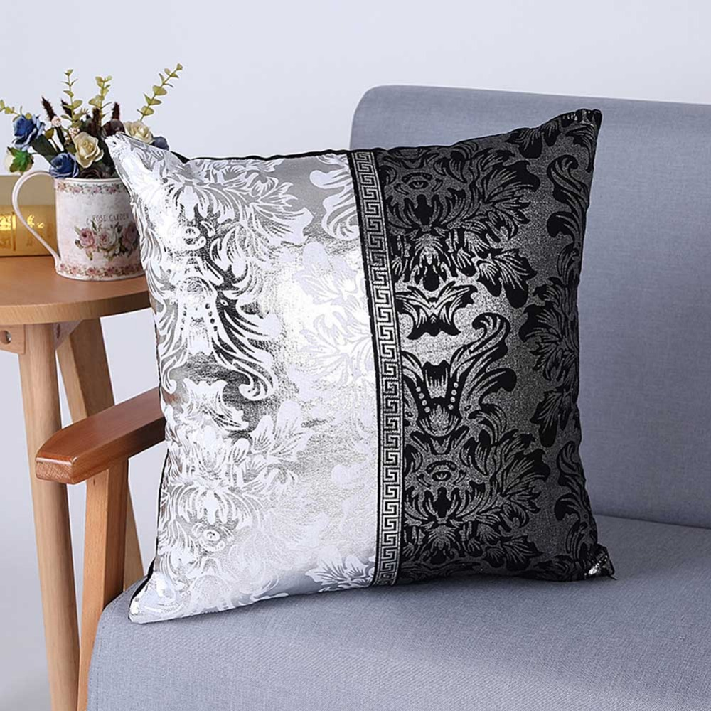 Meijuner Vintage Black Silver Floral Cushion Cover Pillow Case For Car Sofa Decor Pillowcase Home Decorative Pillow Cover(China)