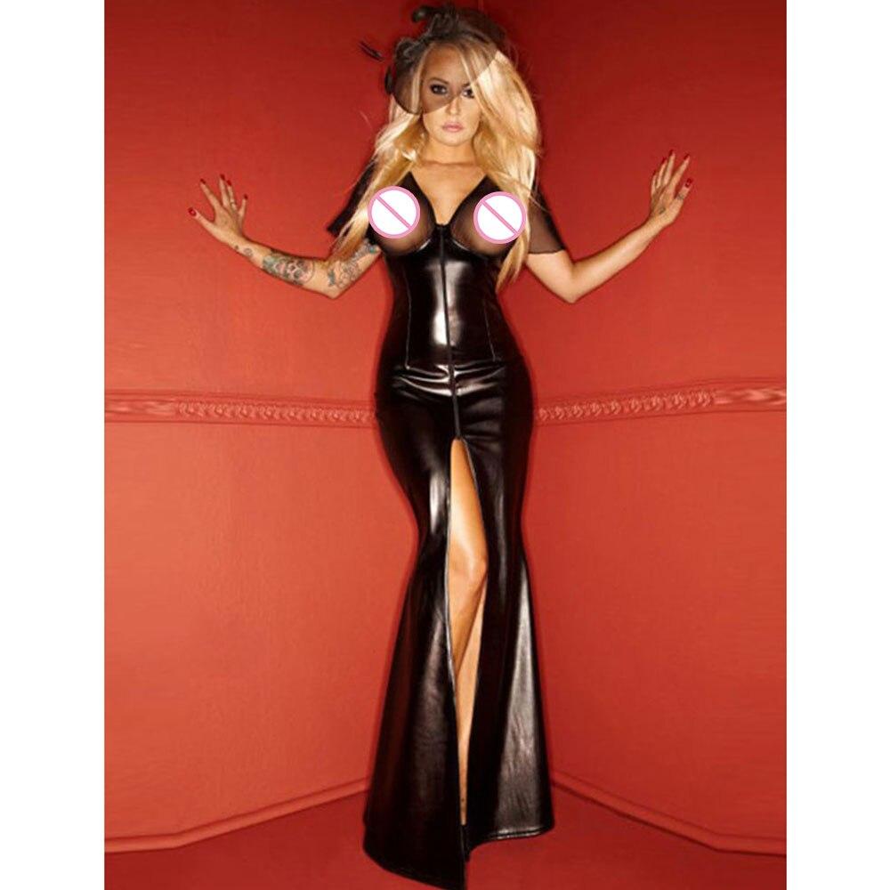 Women Clubwear Party Dress Ladies Wet Look Exotic Vinyl Leather Waist Long Dress V-Neck Long Sleeve Floor Length Maxi Dresses