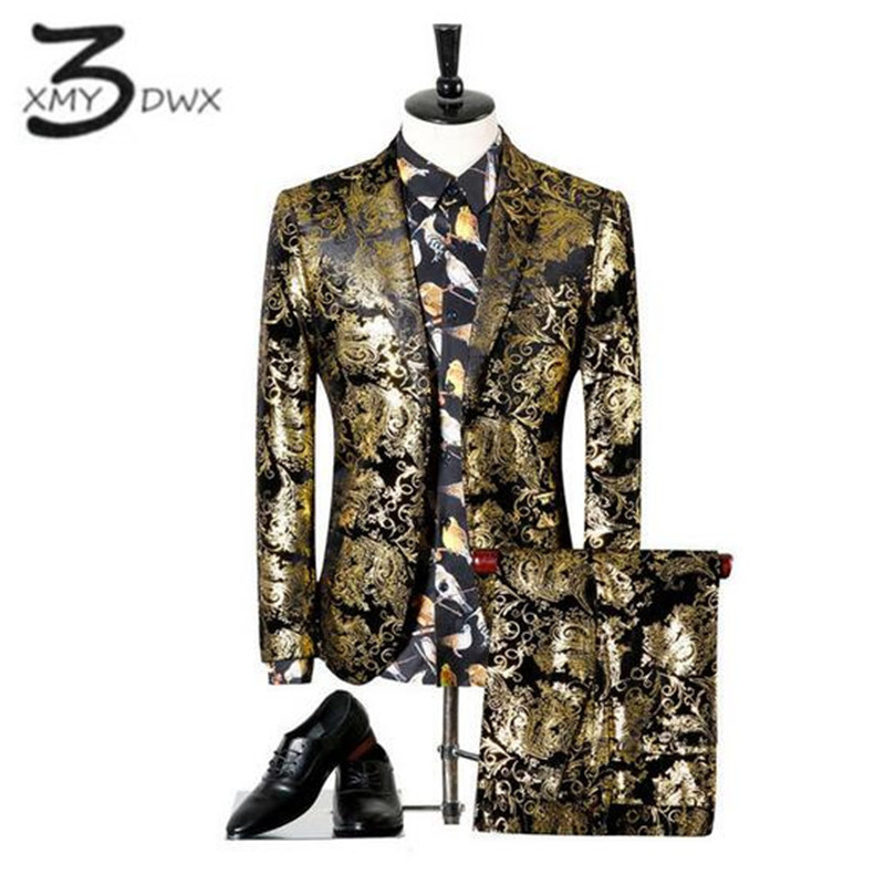 XMY3DWX (jackets+pants) Men Wedding Suit Printed Paisley Floral Black Gold Tuxedo Stage Costumes For Singer Slim Fit Male S-3XL