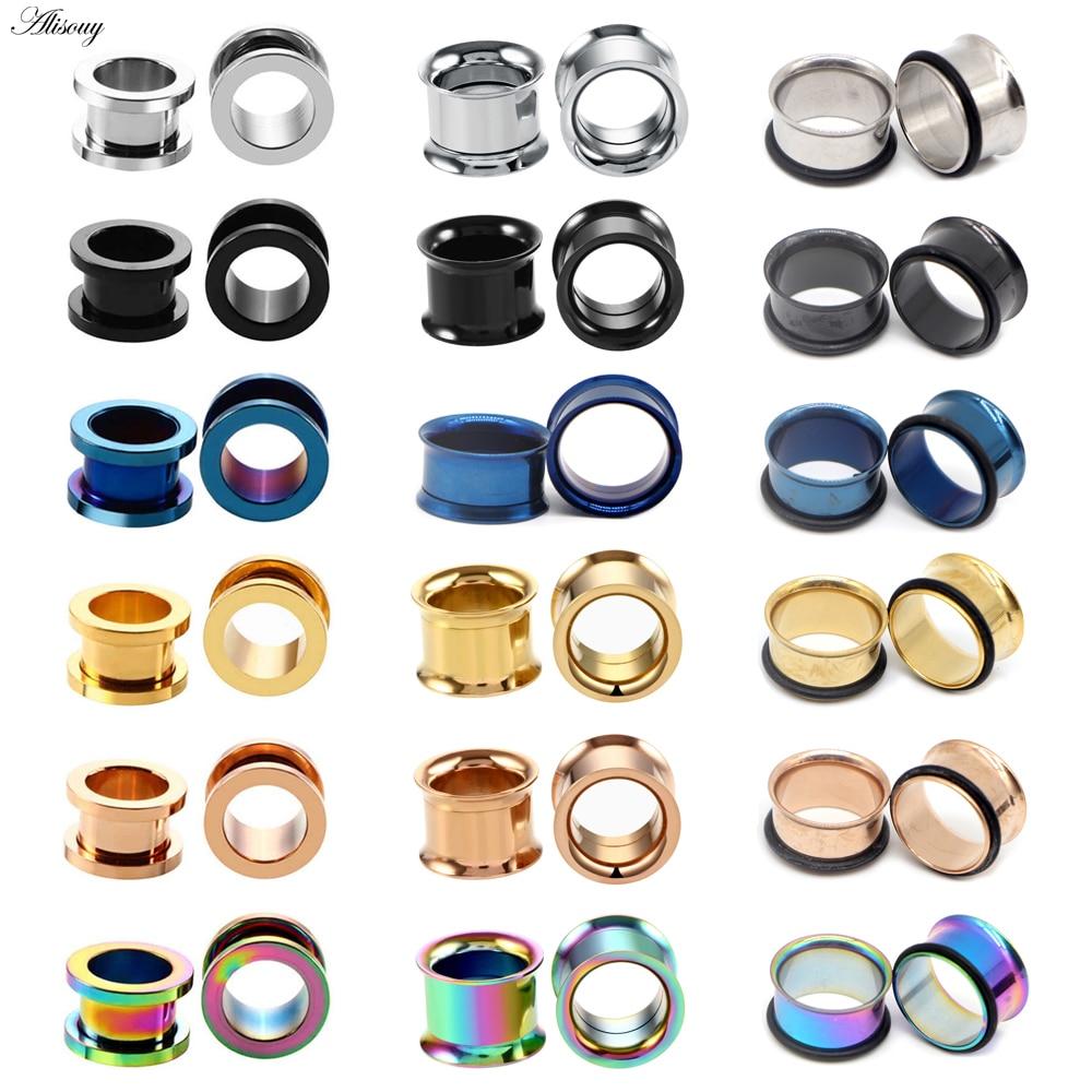Earring Expander Jewelry Gauges Screwed Tunnels Ear-Plugs Piercings Rose-Gold Stainless-Steel