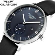 Moda Reloj de Los Hombres GUANQIN Hombres Relojes de Pulsera de Cuero Casual Hombres de Los Relojes de Primeras Marcas de Lujo A Prueba de agua Reloj de Cuarzo reloj hombre