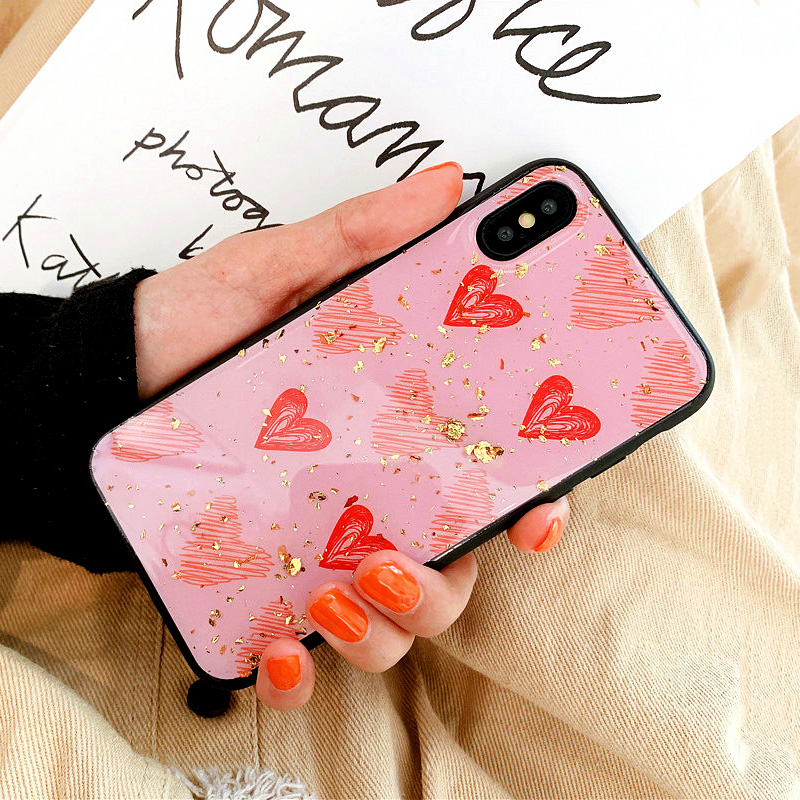 KIPX1088_8_JONSNOW Phone Case for iPhone XS XR XS Max 6S 7 8 Plus Gold Foil Love Heart Style Tempered Glass Back Cover Cases