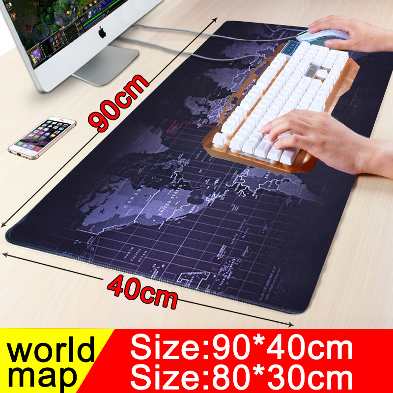 <font><b>900x400</b></font> Gaming Mouse Pad Large Mause Pad Keyboard Computer Locking Edge Mousepad World Map Rubber Big Desk Table Mat image
