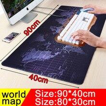 900×400ขนาดใหญ่worldmapแผ่นรองเมาส์เล่นเกมล็อคขอบลื่นเล่นคอมพิวเตอร์แป้นพิมพ์ตารางเสื่อสำหรับผู้เล่น