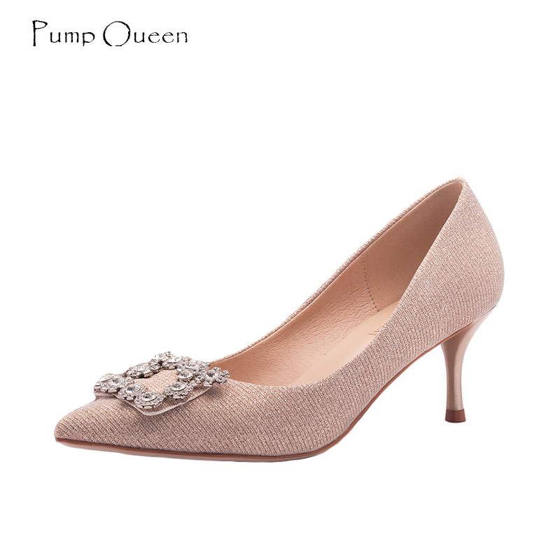 PumpQueen Shoes Woman Bride Wedding High Heels Crystal Thin Heels Pointed Toe Party Women Pumps Slip On Ladies Shoes Size 34 40 luxury brand wallet male mens leather card holder business billfold zipper purse wallets men coin clutch carteira masculina zer