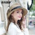 2016 Nueva Señora Sombrero de Sun Del Verano Sombrero de Paja de Las Mujeres Plegado de Ala Ancha Dom Casquillo Elegante Viajar Sombrero Nuevo Headwear B-1985