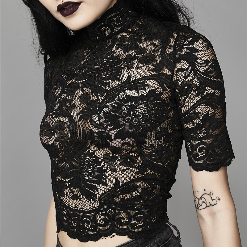 Mesh Lace Crop Top