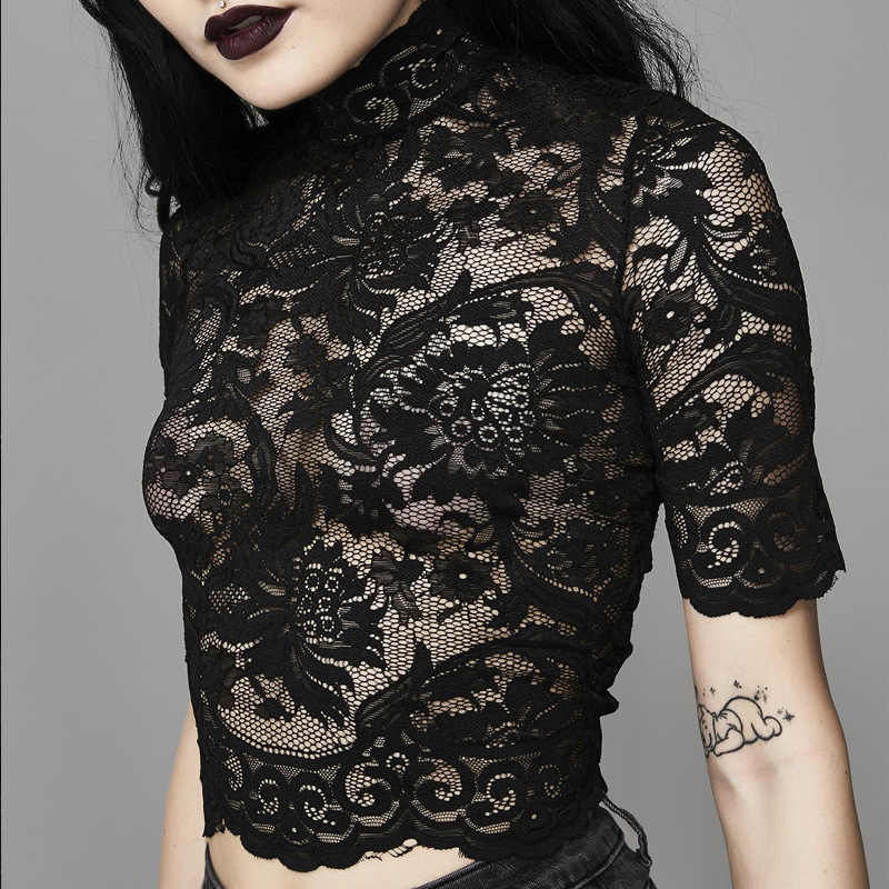 Goth Dark Esthetische Mesh Hollow Out T-shirts Gat Patchwork Crop Top Effen T-shirt Gothic Transparant Borduren T-shirt Kant