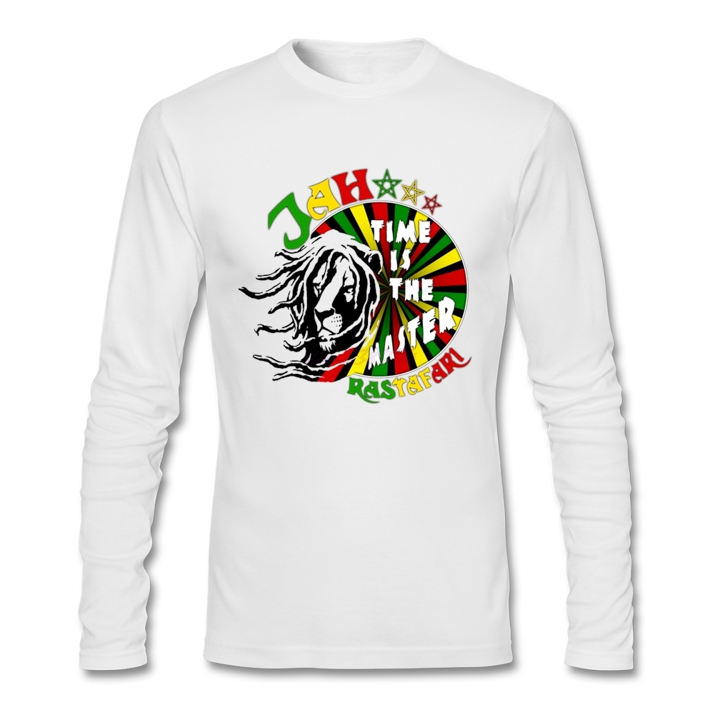 Shirt design generator - Fantastic Jah Rastafari Time Is The Master Old Adult O Collar Full Sleeve T Shirt Creator Jesus Softy Fabric Design T Shirt