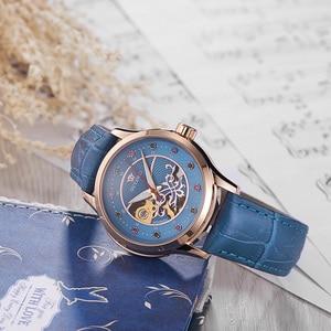 Image 2 - OUYAWEI ブランドスケルトンゴールド機械式自動腕時計女性ファッション白黒青腕時計レディース時計レロジオ Feminino