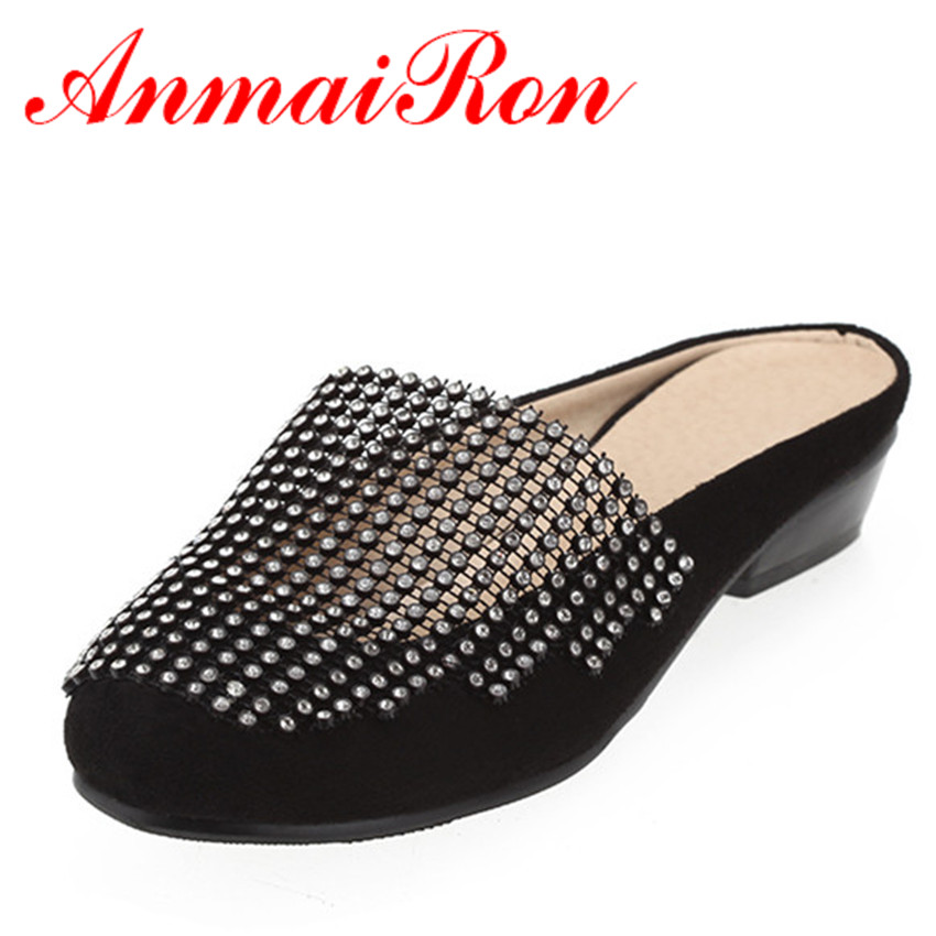 ANMAIRON Summer Women Beach Shoes Cut Outs Rhinestone Flats Shoes Woman  Breathable Slip On Black White Shoes Casual 8d34780d95e6