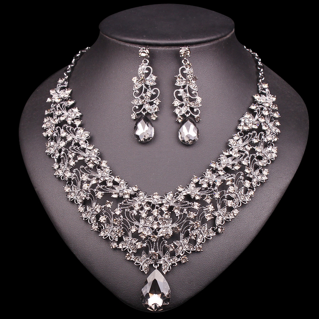 Fashion Necklace Earring Sets Vintage Bridal Jewelry Sets Rhinestone