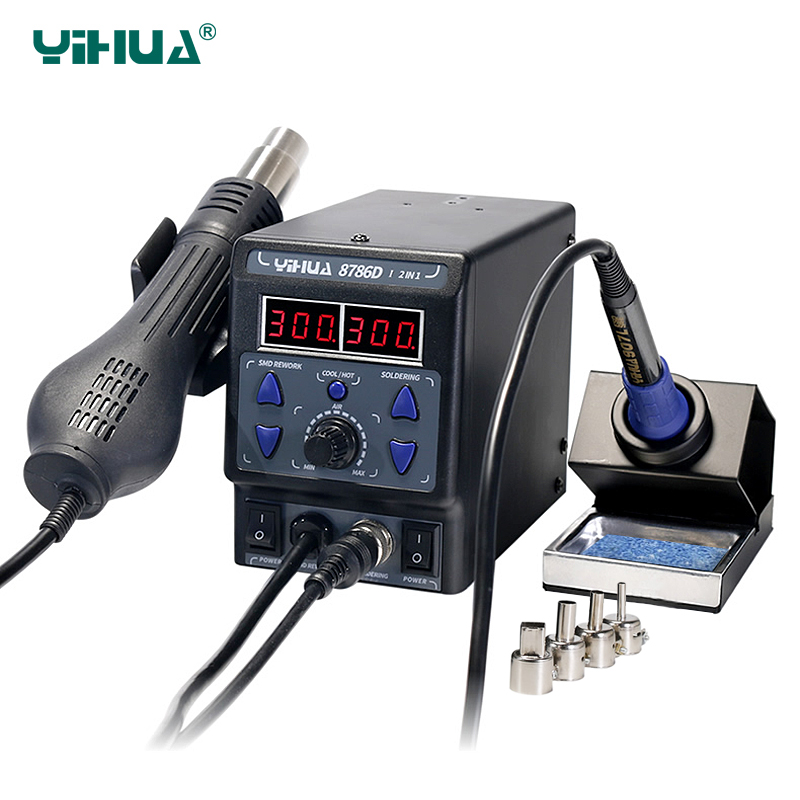 YIHUA 8786D Upgrade Rework Soldering Station 2 in 1 SMD Hot Air Gun Thermoregulator Soldering Iron 700W BGA Welding Tool StationYIHUA 8786D Upgrade Rework Soldering Station 2 in 1 SMD Hot Air Gun Thermoregulator Soldering Iron 700W BGA Welding Tool Station