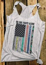 Summer Women Tank Tops No One Fights Alone America Flag Letter Print Tank 2018 Casual Female Light Grey Tank Ladies Tops Tee