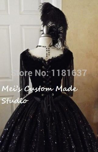 Custom Transport Marie Robe Antoinette Victoriennes Made Robes up Gothique Noir Dentelle wtwqZfr