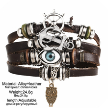 17KM Vintage Multiple Layer Turkish Eye Charms Bracelet For Men Women Fashion Leather Bracelets Wristband Braid Bangles Gift
