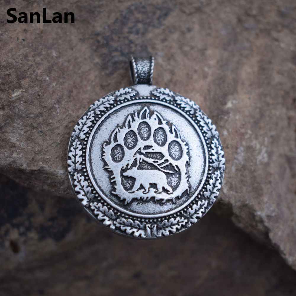 SanLan 1pcs Viking bear paw necklace slavic bear Pagan Celt Viking Norse Slavic Wildlife Animal Wild