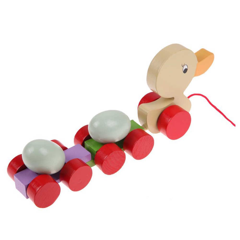 Baru Belajar Awal Kayu Mainan Pendidikan Balita Cewek/Bebek Menarik Gerobak