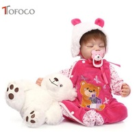 TOFOCO 16.5 inch 55cm Full Silicone Reborn Baby Dolls Alive Lifelike Real Dolls Mini Realistic Reborn Babies Girl Toys Birthday