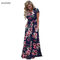 ELSVIO Summer Women Floral Print Short Sleeve Boho Dresses Femme Vestidos Ladies Evening Party Long Beach
