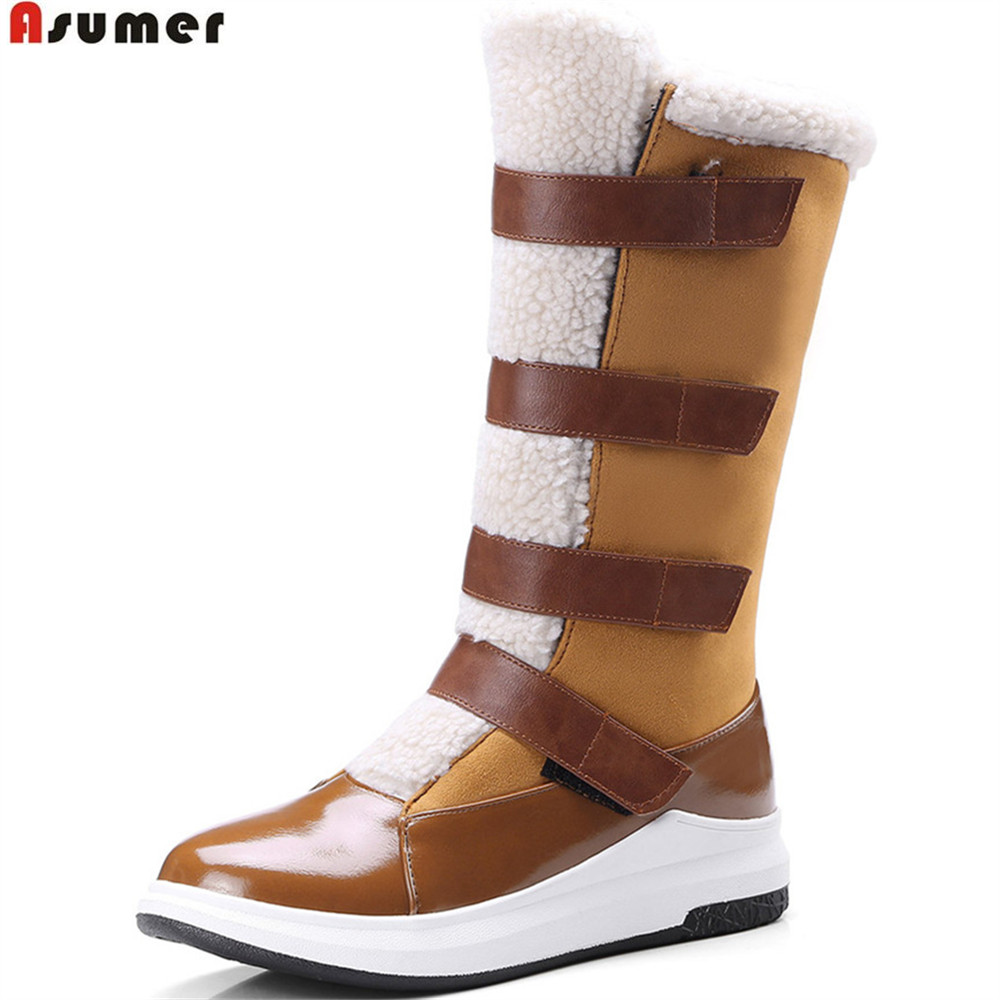 Asumer 2018 Winter Women Boots Round Toe Keep Warm -1653