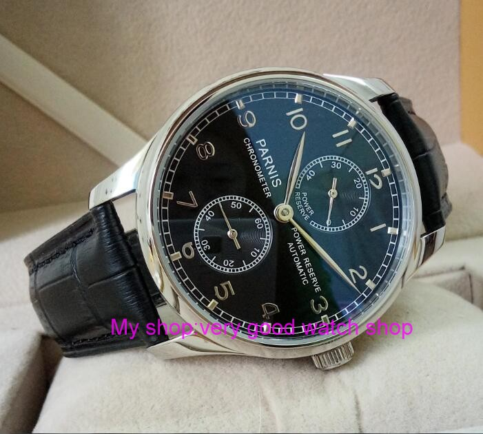 PARNIS 43mm black dial Automatic Self-Wind movement power reserve men's watch Mechanical watches wholesale 163a