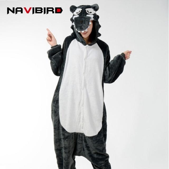 100cc96f626b Winter Kigurumi Gray Wolf Hooded Onesie Men Women Long Sleeve Flannel  Onesies For Adults Kegurumi One-Piece Animal Tiger Pajamas